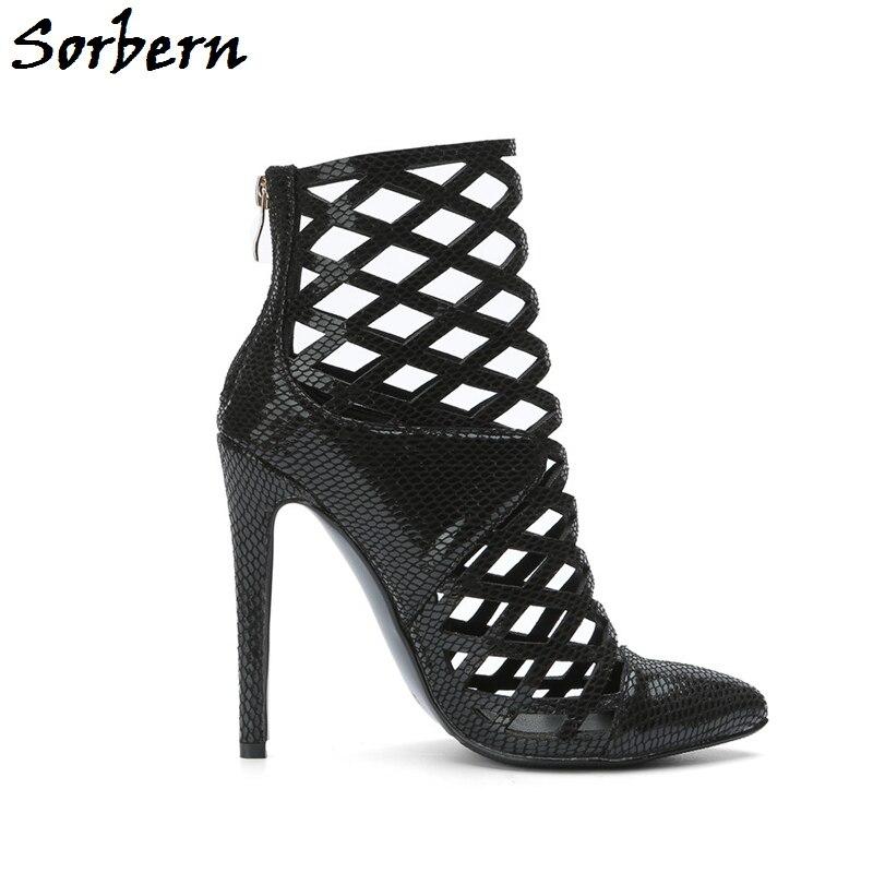 Custom Grande Pour Dames De Haute Stilettos Talon 10 Sorbern Taille Serpent Sandales Noir Cheville Mode Chaussures Femmes Peau D'été Zipper Made paaAqSvfx