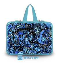 "Blue Robots Type Netbook W/Tide Handle Carring Gripesack Neoprene Laptop Soft Tote Cover Case Bag 10""13""14""15""17""  For Lenovo"