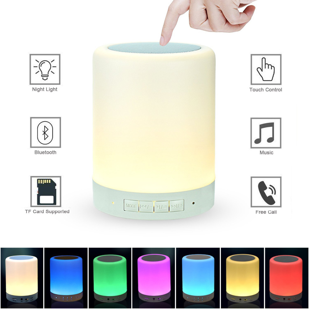 Wireless Speaker Lamp Touch Control LED Bedside Table Lamp Dimmable Night Light RGB Color Changing-Speakerphone Support TF card original xiaomi yeelight bedside lamp rgb wireless touch control night light for cellphone
