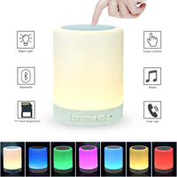 Wireless Speaker Lamp Touch Control LED Bedside Table Lamp Dimmable Night Light RGB Color Changing Speakerphone Support TF card