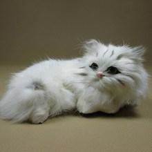 Simulation white cat polyethylene&furs cat model funny gift about 15cmx10cmx7cm