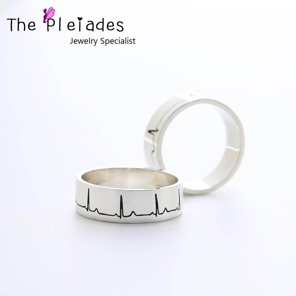 Bague Couple en argent massif 925 gravée votre coeur battement vague anneau personnalisé bande 6mm bijoux personnalisés