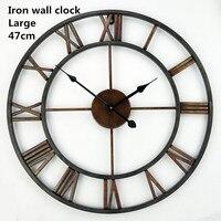 Free Shipping 18.5 Inch Oversized 3D Iron Decorative Wall Clock Retro Big Art Gear Roman Numerals Design The Clock On The Wall