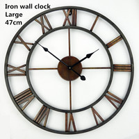 Free Shipping 18.5 Inch Oversized 3D Iron Decorative Wall Clock Retro Big Art Gear Roman Numerals Design The Clock On The Wall