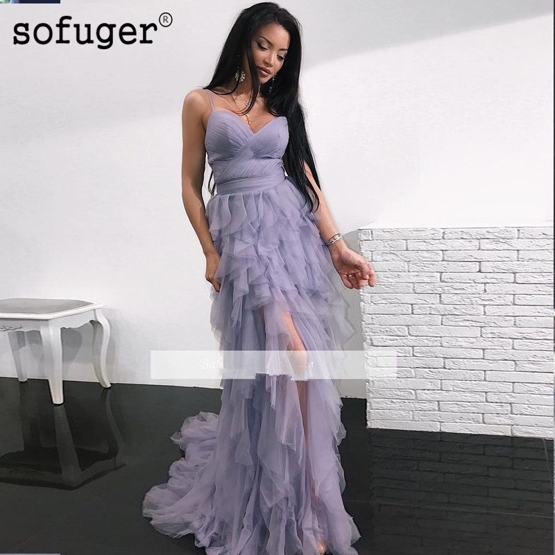 2019 Prom Dresses Mermaid Spaghetti Straps Tulle Ruffles High Low Party Long Prom Gown Evening Dresses