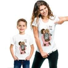 Повседневные одинаковые футболки с принтом для мамы и дочки, одежда для семьи, Одинаковая одежда для мамы и сына