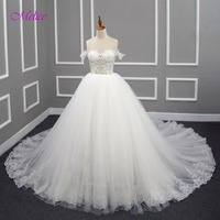 Melice Sexy Sweetheart Neck Appliques Beaded Ball Gown Wedding Dress 2017 Graceful Tulle Chapel Train Bride