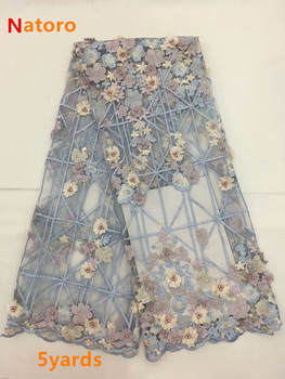 Elegant 3d Flower Tulle Lace African Net Lace Fabric with Beads 2019 Latest Design For Evening Dresses    JIaA292
