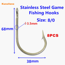 8pcs 7691S Size 8/0 Stainless Steel Sea Fishing Hooks Sharpened Southern Tuna Saltwater Fish Hook Tackle