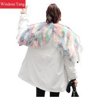Зимний теплый белый черный Куртка пальто женские фиолетовый шерсть меховой енот лиса с капюшоном Длинные куртки на кулиске пальто Верхняя