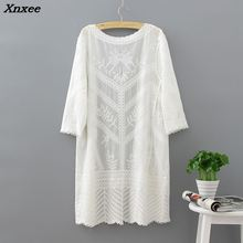 Women Beach Long Cardigan 2018 Summer Crochet Kimono Hollow Out Blouse Fashion Casual Lose Lace Shirts Loose White