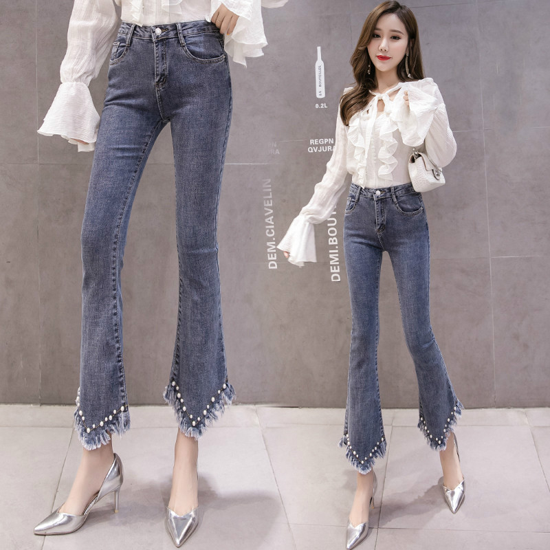 High Waist Women Jeans Flare Pants Tessal Bead Slim Fashion Pants High Waist High Elastic Ankle-Length Denim Trousers 2
