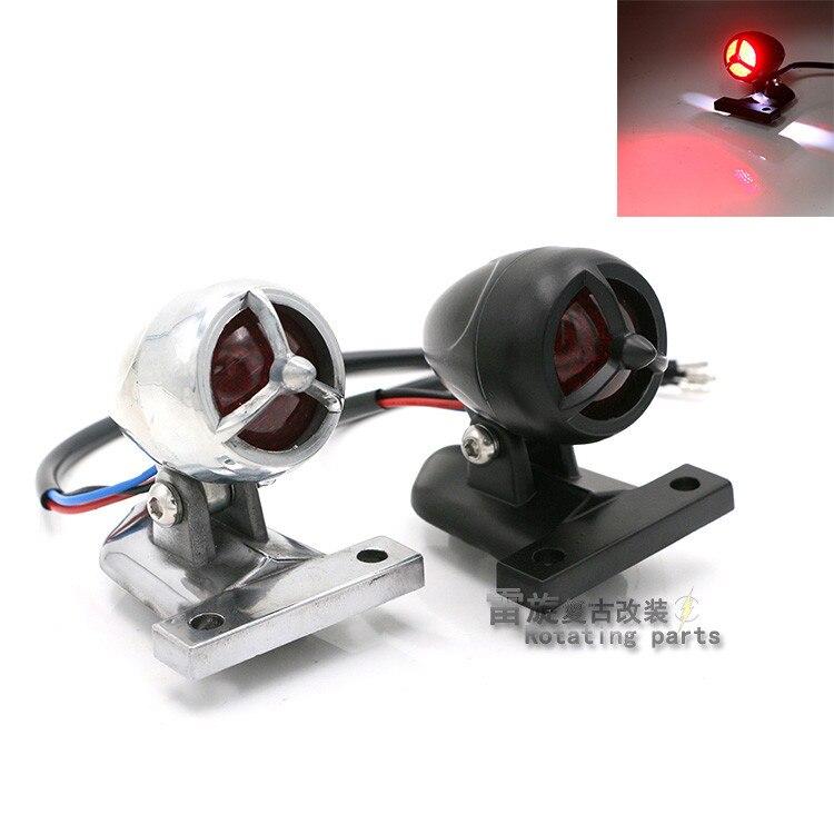 top quality chrome silver black motorbike red LED motorcycle tail light for harley cruise warning signal light moto brake light