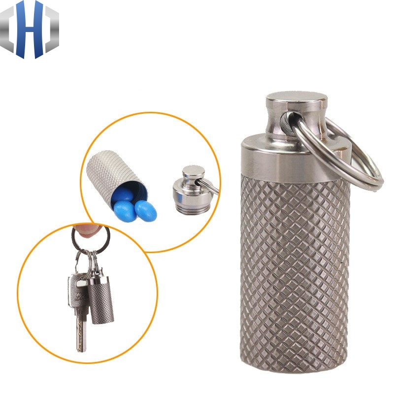 Portable Mini Titanium Alloy Seals Bottle Waterproof Canister Medicine Bottles Outdoor EDC First Aid Supplies Tools
