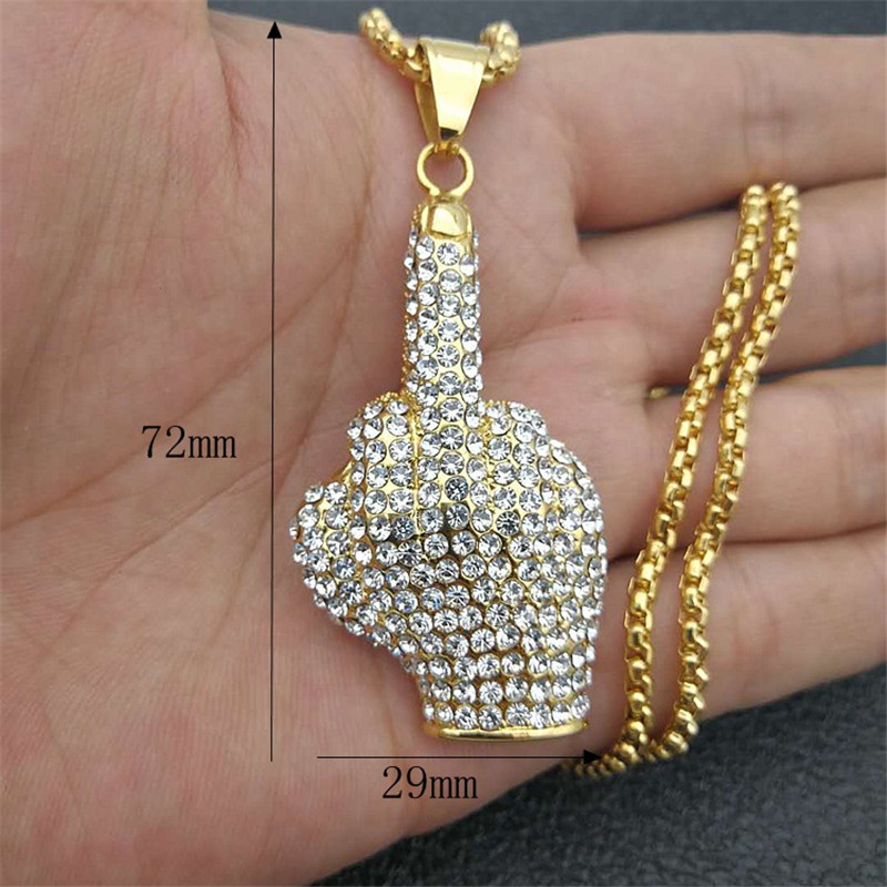 Hip Hop Iced Out Bling Big Middle Finger Pendant Necklaces Gold Color Stainless Steel Hipster Men Jewelry Hippie Collier homme in Pendant Necklaces from Jewelry Accessories