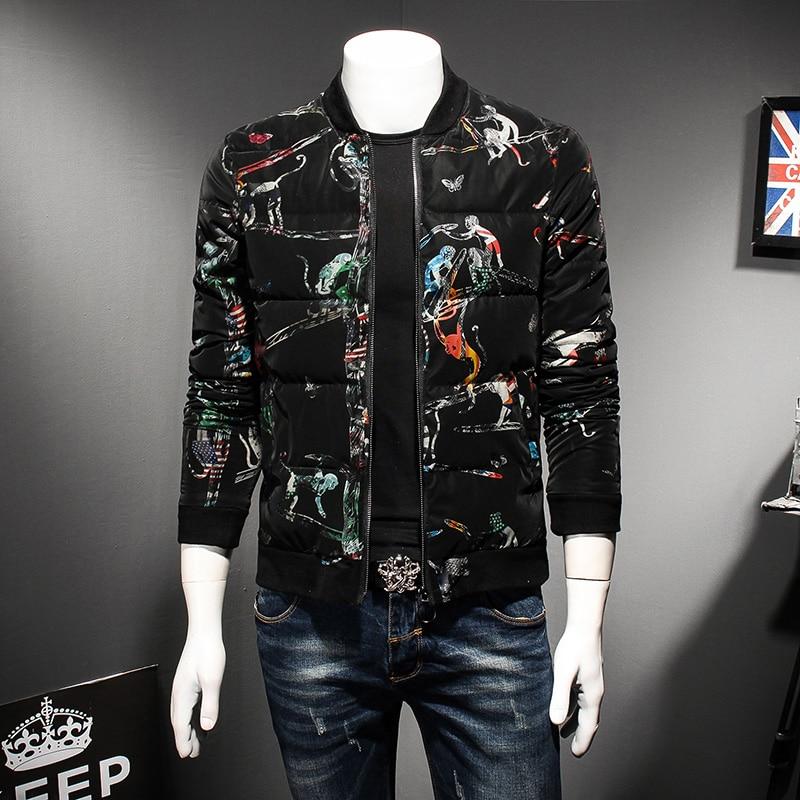 High Quality Parka Men Winter New Fashion Print Slim Fit Warm Jackets Men Korean Thick Casual Padded Bomber Jacket Men's Coats