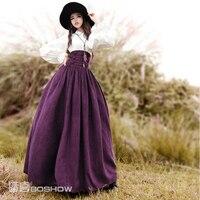 Boshow printemps originale conception femmes Vintage élégante Europe royale élastique taille haute jupe longue en dentelle - Up Flock daim jupe longue