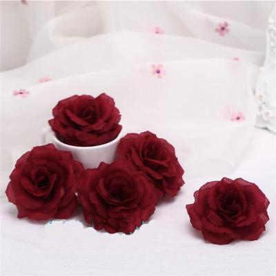 8cm bourgogne artificielle Rose fleur tête pour mariage voiture décoration saint valentin cadeau Rose à faire soi-même ours vin rouge faux fleurs