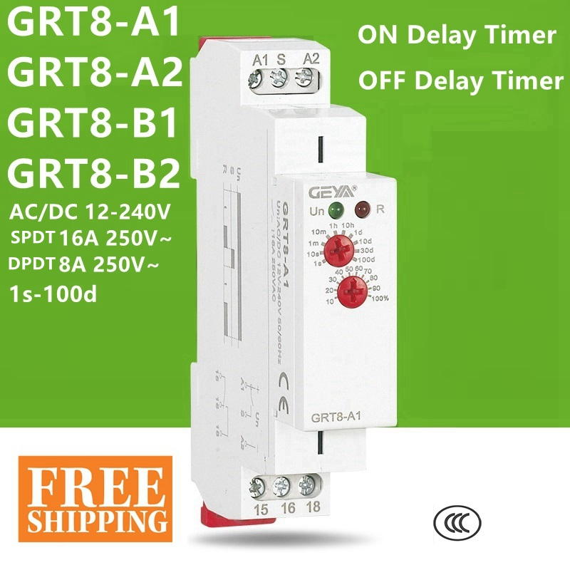 TIME RELAY GRT8-A1 GRT8-A2 ON Delay Timer GRT8-B1 GRT8-B2 OFF Delay Time Relay SPDT 16A DPDT 8A 12V 24V 220V DIN 12-240VAC/DC
