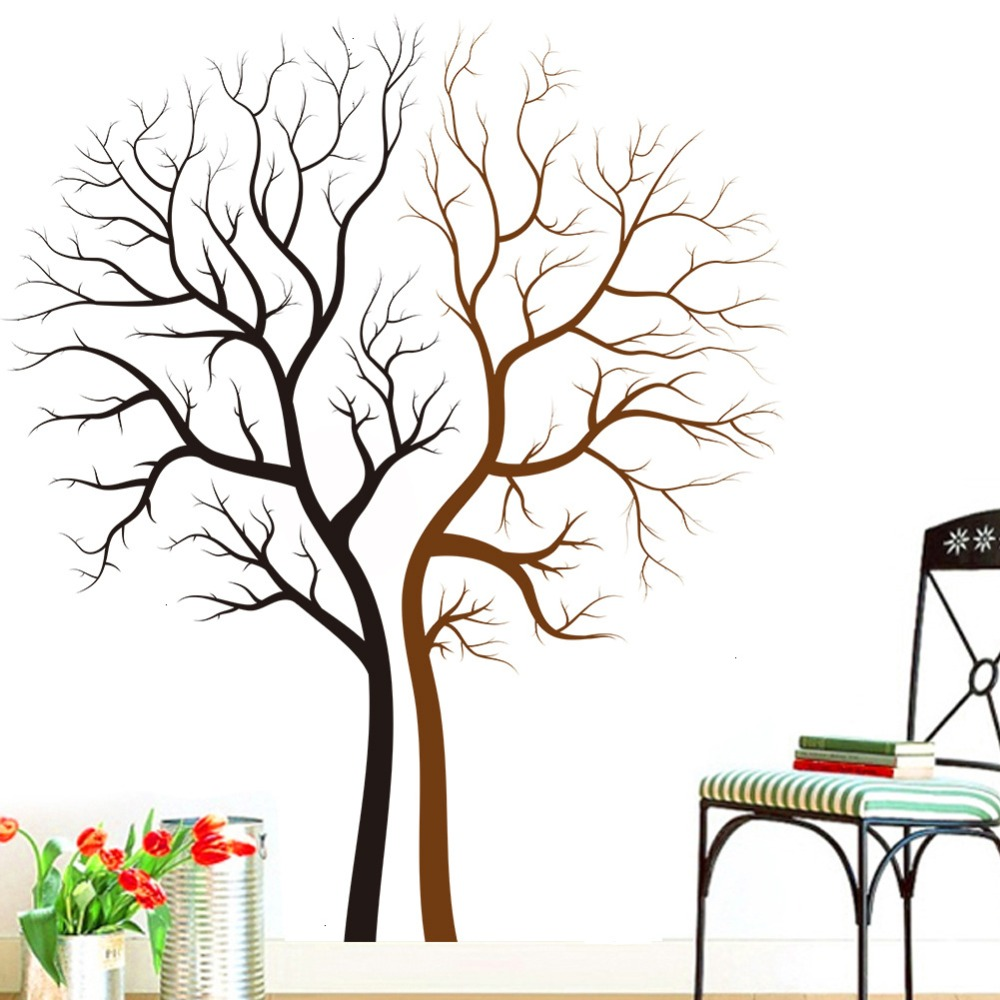 Bedroom wall art trees - Two Naked Trees Wall Art Mural Decal Sticker Living Room Bedroom Background Loving Tree Wall Decor