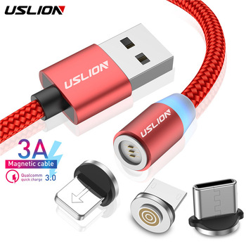 USLION 1M 3A Fast Charging Magnetic USB Micro Cable Type C Cable LED Phone Wire Type-C Magnet Charger For Iphone XS 7 XR Samsung Mobile Phone Cables