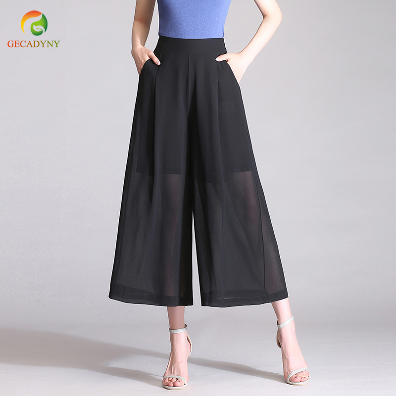 Plus Size S-3XL 2019 Summer Chiffon Wide Leg   Pants     Capris   Women High Waist Chiffon   Pants   Loose Casual Slim OL Trousers Female
