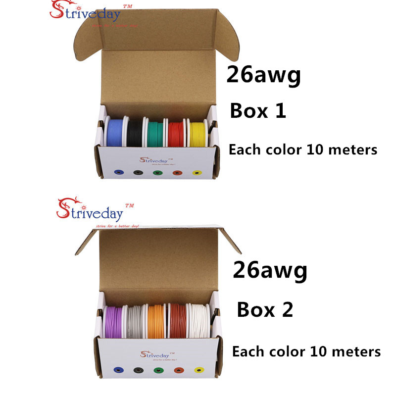 100 m( 10 colors Mix box 1+box 2 Stranded Wire Kit) 26AWG Flexible Silicone Rubber Wire Tinned Copper line 32.8 feet each colors цена