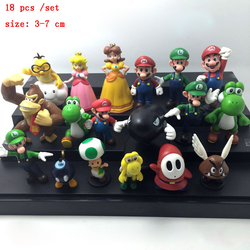 Toys For 18 : Pcs set mario abs action figure toys japanese anime