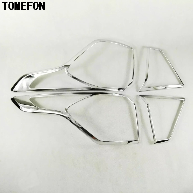 TOMEFON ABS Chrome Rear Tail Light Lamp Cover Trims Rear Light Hood Cover Trim Exterior 4Pcs Styling For Ford Escape Kuga 2017 jgrt chrome rear window wiper cover trim for 2013 2014 2015 frod escape kuga new high quality chrome stickers trim car styling c