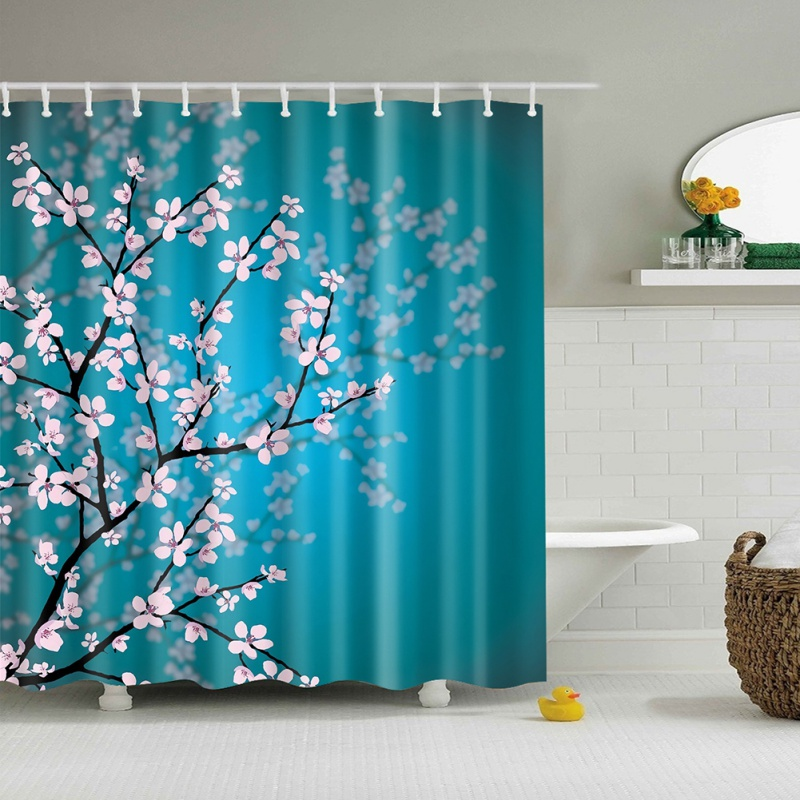 Curtain Hanging Fabric Bathroom Decor Shower Curtain Pink Blossoms Decor Leaves and Plan ...