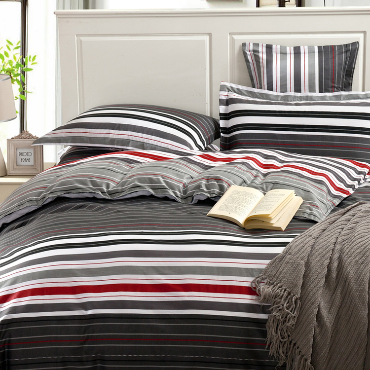 grey and red stripes printing 4pc bedding set queen bed Duvet Quilt covers  bedclothes pillow shams sets 100  cotton in Bedding Sets from Home   Garden  on. grey and red stripes printing 4pc bedding set queen bed Duvet