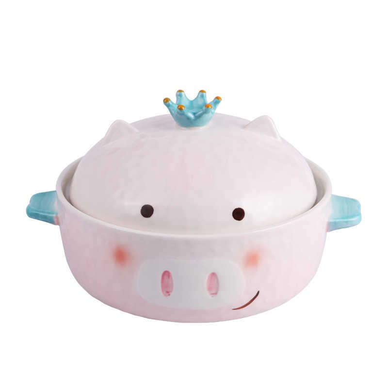大サイズかわいいピンク豚セラミック麺ボウルクラウン漫画日本の女の子寮スープボウル家庭用ボウルと蓋