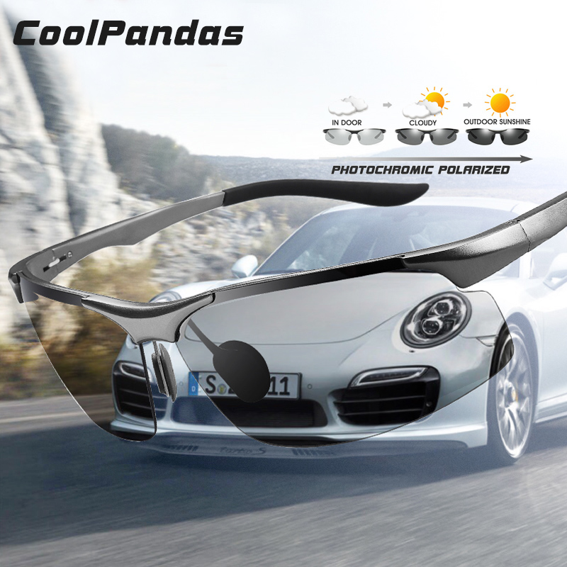 Coolpandas Driving Photochromic Polarized Sunglasses Men Aluminum Day Night Vision Goggles Sun glasses oculos de sol