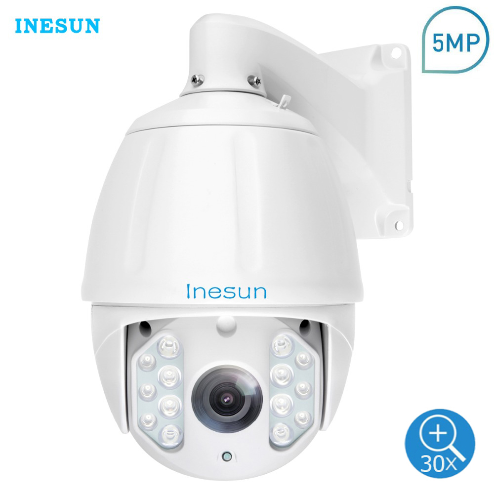 Inesun Outdoor PTZ IP Camera 2MP 5MP Super HD 2592x1944 30X Zoom PTZ Camera Waterproof High Speed Dome Cam 500ft IR Night Vision-in Surveillance Cameras from Security & Protection