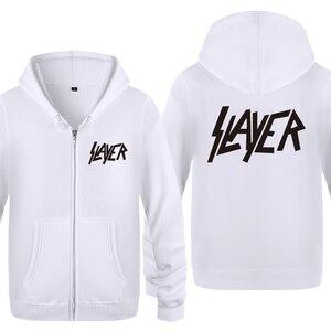 Image 2 - Slayer zespół rockowy bluzy mężczyzn 2018 mężczyzna zamek polar z kapturem swetry rozpinane