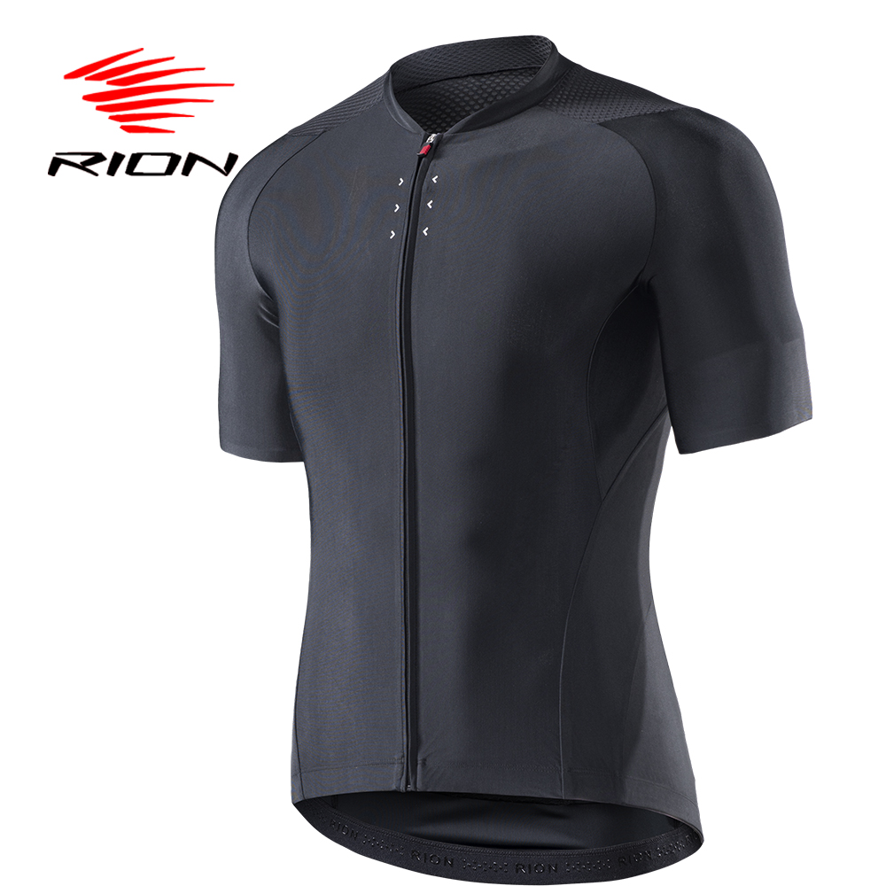 RION Cycling Men's Black Reflective Jerseys Short Sleeves Summer Motocross
