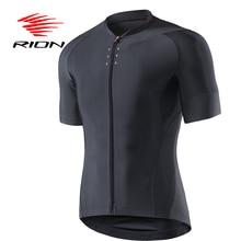 Rion Cycling Herenfiets Zwart Reflecterende Jerseys Korte Mouwen Zomer Motocross Mountainbike Downhill Racing Road Fiets Tops