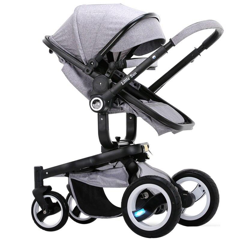 2019 haute paysage luxur bébé poussette peut s'asseoir, Lie haute paysage, quatre roues amortisseurs, large largeur chariot à deux voies, été