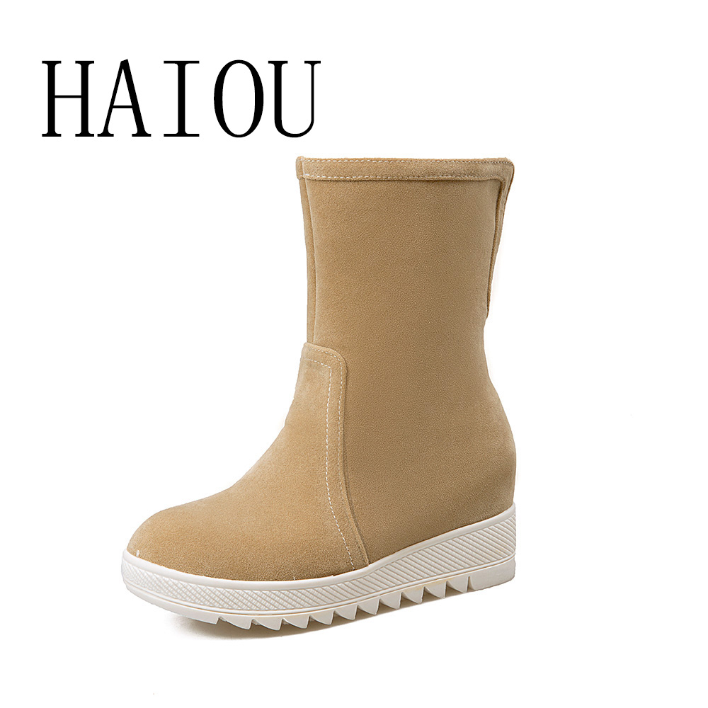 HAIOU 2016 Winter Fashion Snow Boots Wedges Mid calf Women Boots Thermal Female Winter Warm Shoes