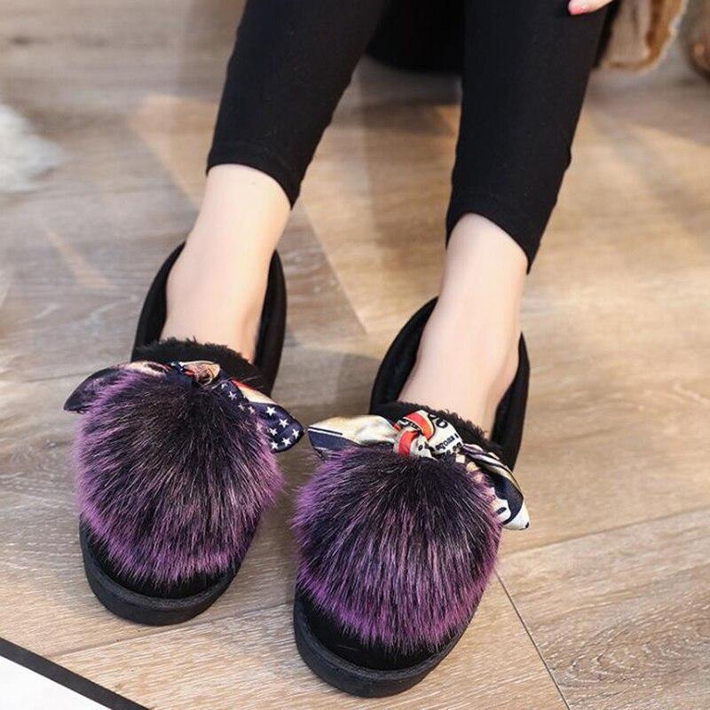 verde Mujer Encantadora De Wfs1002 Peluda La Zapatos púrpura 2018 Negro Algodón Ballet Comodidad Covoyyar Slip Mocasines Piel Invierno Pisos Bola En HYddXq