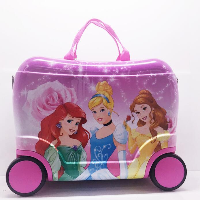 Bagaglio Trolley valigia su Ruote del capretto del capretto Ride on la valigia Valigia di Rotolamento Per Il ragazzo di Imbarco Tirando Custodie Per ragazze