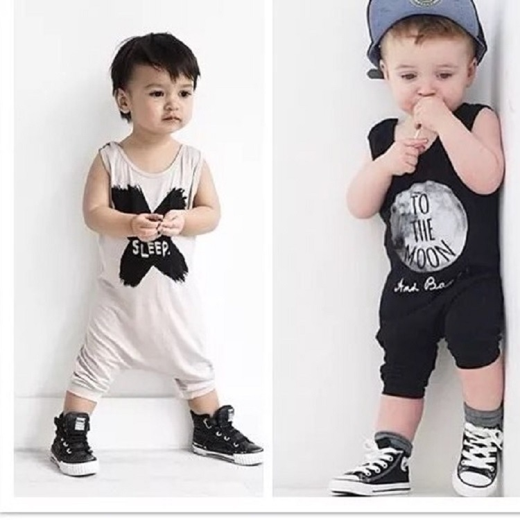 Newborn Baby Rompers Summer No Sleep Skull Boys Girls Jumpsuit For Infant Clothes 2018 New Sleeveless Letter Kids Baby Rompers 2016 fashion baby boys girls rompers brand clothes cotton infant vest no sleep print romper 0 24m newborn jumpsuit baby clothing