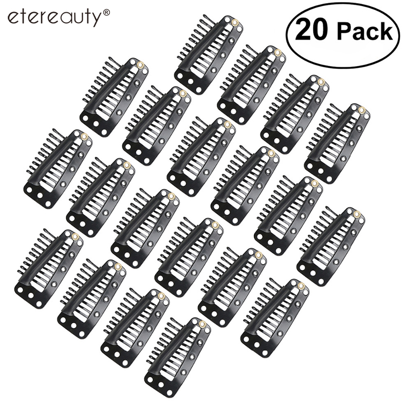 20pcs 10-Teeth Snap-Comb Wig Clips With Rubber For Hair Extension
