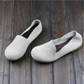 Woman Genuine Leather  Shoes Flat Brand Ballerina Flats Ladies Slip On Shoes Round toe Rubber Sole Mori Girl Style  (1688-3)