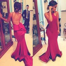 Vestido De Festa Red Satin Mermaid Evening Dresses 2019 Long dresses Party Gown Pleat Sexy Backless Prom Dress