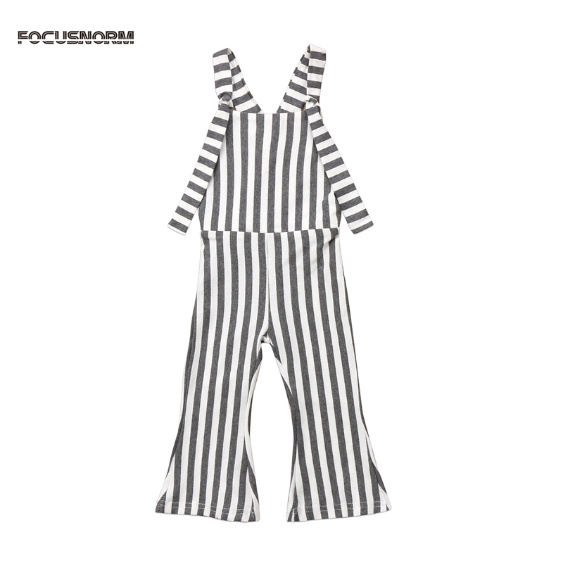 FOCUSNORM New Fashion Toddler Kids Baby Girl Stripe Brace Pants Overalls Jumper Romper Outfits