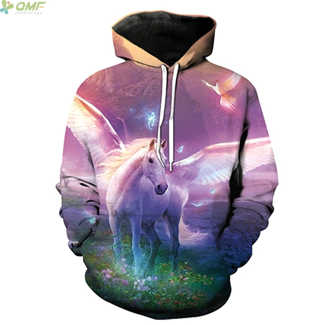 86fc14f040ef Purple Flying Horse 3d Print Sweatshirts Fashion Street Hooded Tops Hipster  Autumn Hoodies Hoody White Horse Outerwear Men