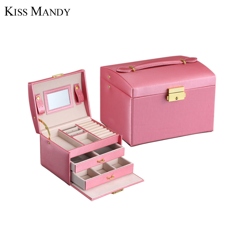 Kiss Mandy New Arrival Three Layers High Quality Leather Jewelry Boxes Makeup Case Fashion Jewelry KSO01