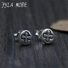 Super Deal 1 Pair Round Stud Earrings For Men Cool Women Jewelry Mens Cross Earrings Thai Silver Male Stud 6*13mm 1.40g WTS018 цена