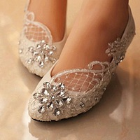 Big Size 34 44 Silver Rhinestones White Lace Women Wedding Shoes Flat Heels Pointed Toes Lace